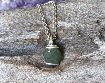 PETITE Green/Grey Seaglass Necklace - Ocean Inspired - Mermaid Tears - Sea Glass Jewelry - Hawaiian Jewelry - Hawaii Necklace Island Jewelry