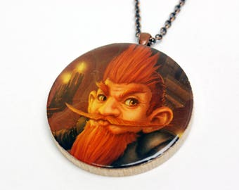 Upcycled Gnome World of Warcraft Necklace in Antique Copper - WoW Necklace, Gnome Necklace, WoW Jewelry, Upcycled Necklace, One of a Kind
