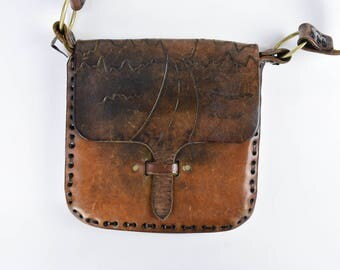 Brown Leather Purse with Hand Tooled Road Detail