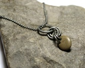 """Beach Stone Necklace - Drilled River Rock Pebble Stone - Antique Oxidized Silver Beach Rock Double Drilled Stone - 18"""" Earthy Jewellery"""