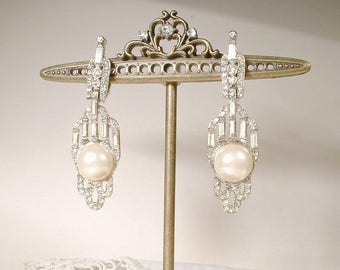 Vintage Wedding Art Deco Pearl Earrings,Pave Paste Rhinestone Dangle Bridal Earrings,Long Statement Great Gatsby Flapper Clip On Back 1960's