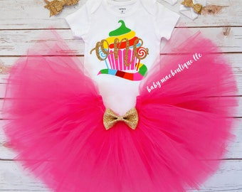 Sweet Shoppe First Birthday Outfit Girl; Birthday Tutu Outfit; fuschia tutu; Tutu Outfit for first birthday; Gerber ® Onesies ® brand