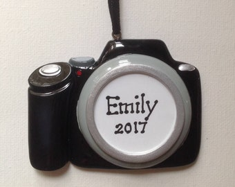 Personalized Christmas Camera Ornament -Photographer, artist, producer- Free Personalization.