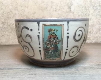 Tarot Card Bowl - Handmade Stoneware Bowl - Ceramic Bowl - Ice Cream Bowl - Dipping Bowl - Stoneware Bowl - Brown and White Bowl - Soup Bowl