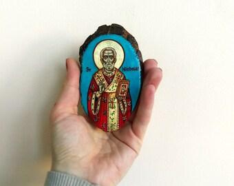 St Nicholas, Santa Claus, St Nikolai Sinterklaas, miniature  icon, handpainted  on wood panel