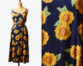Vintage 90s Navy Floral Dress Grunge Long / 1990s Maxi Sunflower Flower Print Boho Sun Summer Yellow Green Sleeveless Bohemian Large l