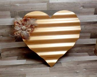 Metallic Copper Metal Heart Wall Art - Heart Wall Hanging - Shabby Chic Heart