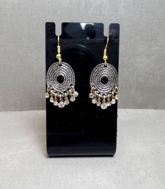 Silver & Gold Earrings - Boho Earrings - Rhinestone Dangle Earrings - Belly Dance Earrings - Free US Shipping