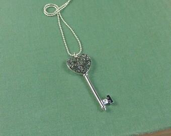 Love Note. Silver Key Necklace. modern necklace. short necklace. key necklace. gold necklace. layering necklace.