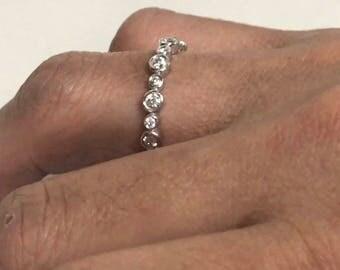 Bezel Set Eternity Diamond Wedding Ring, Wedding Band, 18K White Gold 0.55 Carat Bezel Set Anniversary Ring, Stackable Band handmade
