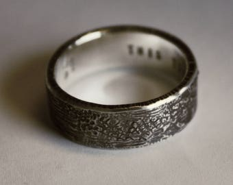 The WHATEVER 8mm ring for men. PERSONALIZED optional. BOLD 2mm thick. Philosophy, history, art in one of a kind unique distress design.