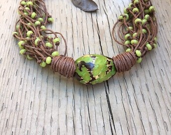 Tagua Nut Ncklace, Linen Necklace, Taguan Nut Jewelry, Linen Jewelry, Linen Cord, Green  Tagua  Nut  Bead, Natural Jewelry