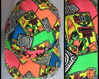 1980's neon tribal surfer iguana patterned Westwind Camp Timber Trails cap hat abstract beach bright colorful adjustable one size day glow