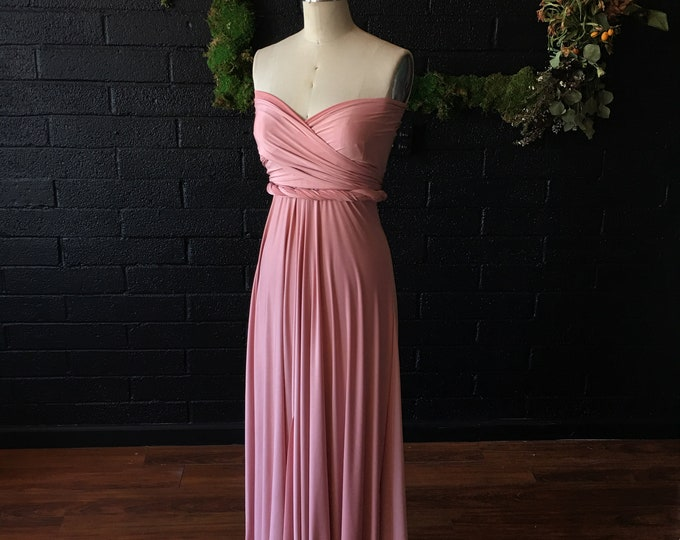 Bloom Dusty Rose Silky Satin Maxi Infinity Wrap Gown- Pale Dogwood - Bridesmaids, Wedding, Maternity, Plus Size