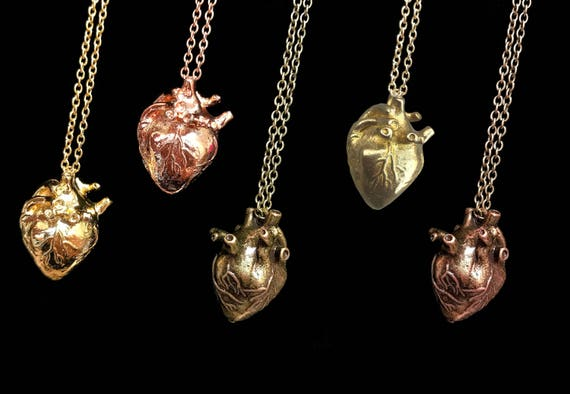 Three Dimensional Anatomical Heart Necklace - Select Your Finish!