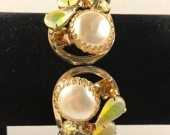 Juliana Bracelet, Rhinestone Jewelry, Vintage Jewelry, Juliana Jewelry, Juliana Clamper Bracelet, Yellow Givre Rhinestones, Faux Pearl Cuff