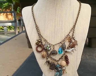 Autumn Treasures - Junk Necklace, Charm Necklace, Found Object, Natural Woodland Necklace