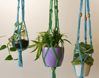 Macrame Plant Hanger - Large Cyan hanger made with 100% up-cycled t-shirt yarn and wooden beads