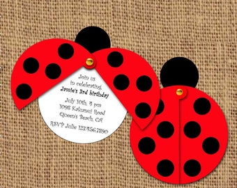 Ladybug Invitation, Birthday Party, Shower, Picnic, Barbecue, Insect Bugs, Favor Tag, Thank You, DIY Party Printable/Summer Party/Pool Party