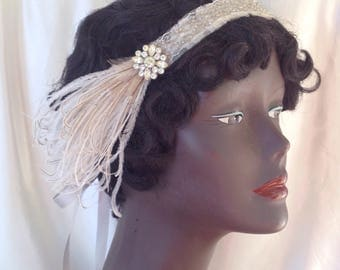 1920's headband, cream and silver flapper wedding headpiece edwardian headdress with vintage rhinestones and brown feathers - ready to ship