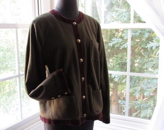 90s Oscar de la Renta Dark Olive Green with Rich Brown Velvet Trim, Moon and Stars Silver/Gold Buttons, Blazer , Cardigan, Large, XLarge
