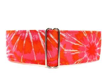Orange Martingale Dog Collar, Tie Dye Martingale Collar, Tie Dye Dog Collar, Orange Dog Collar, Greyhound Collar, Wide Dog Collar