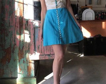 Vintage 1960s Dress // 60s Sky Blue and White Summer Sun Dress // Mini Mod Colour Block Dress with Buttons