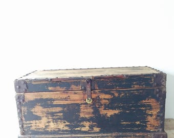 Vintage Wooden Trunk with Iron Detail and original Hardware