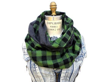 Buffalo Plaid Scarf - Green Scarf for Women - Check Scarf - Plaid Infinity Scarf - Winter Scarf - Circle Scarf - Eternity Scarf - Grey Scarf