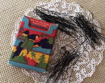 Vintage 1920s 1930s Box Of hair Pins Ass'td Invisible Hair Pins Parrot Art Deco Graphics On The Box Contains 52 Pins (INVENTORY #2)