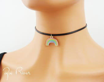 Rainbow choker necklace. Love is Love. Rainbow necklace. Rainbow love choker. YES to Marriage equality choker necklace. Dainty choker