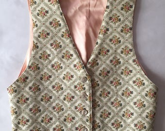 1970s barocco tapestry vest / coral pink and floral tapestry vest