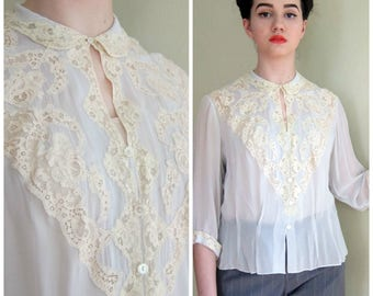 Vintage 1940s Rayon Blouse Pale Blue with Cream Lace / 40s Button Down Shirt / Medium