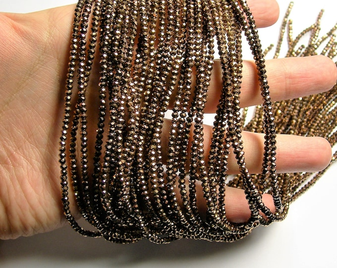 Crystal - rondelle  faceted 3mm x  2mm beads - 198 beads - AA quality - Bronze metallic ab - full strand - CAA2G66