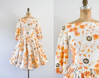 1960s Orange Blossom bronze garden dress / 60s medallion