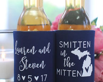 Wedding Favors - Smitten in the Mitten Michigan Personalized Can Coolers, DIY Favors for Guests, Rustic Destination Wedding, Stubby Holders
