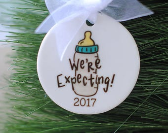 We're Expecting Baby Christmas Ornament - We're Pregnant Christmas Ornament - Pregnancy Announcement - Pregnancy Ornament, Xmas Gift
