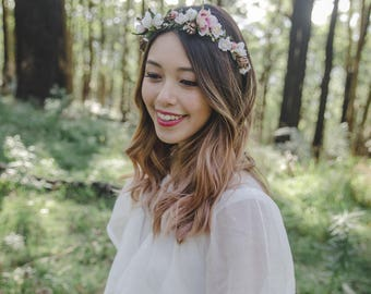 woodland forest bridal wedding flower crown // Pine - multi-colour / bohemian pinecone flower crown / rustic beach wedding crown