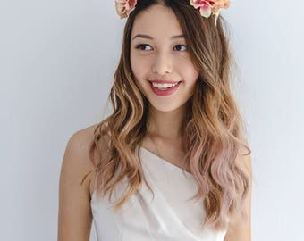 peach orange flower crown // spring racing statement flower crown / spring races flower crown headband / flower fascinator bohemian