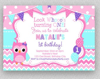 Owl Birthday Invitation Owl Birthday Party Invitation - 1st birthday invitations girl owl