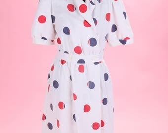 Vintage Kenny Classics Red and Blue Polka Dot Dress 80s does 50s