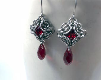 Elizabeth Earrings Surgical Stainless Steel with Swarovski Crystal Siam Red Chainmaille