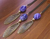 Insect wing necklace - Brass and Charoite - Long layering necklace - cicada wing - Dragonfly wing- Pendant necklace