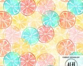Summertime Citrus Fabric by the Yard - Bright Watercolor Fruit Slices Tropical Print in Yard & Fat Quarter