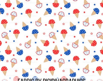 4th of July Ice Cream Fabric By The Yard - American Independence Day Ice Cream Cone Print in Yards & Fat Quarter