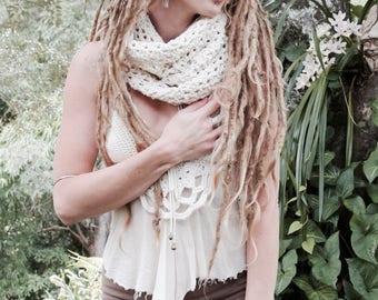 Crochet Merino Wool Cowl Circular Scarf
