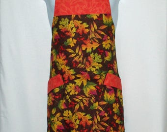 Autumn Apron, Fall Leaves, Full Bib Long Pockets, Thanksgiving, Custom Gift, Personalize With Name, No Shipping Fee, Ships TODAY, AGFT 1212