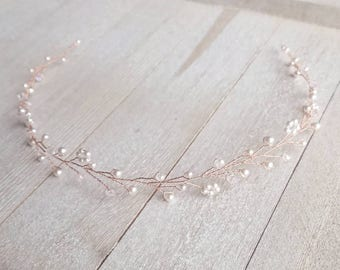 Rose Gold Hair Piece , Wedding Hair Vine, Rose Gold Vine, Bridal Hairpiece, Bridal Wreath, Wedding Crown, Pearl Hair Vine, Bridal Accessory