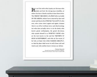 Inspirational gifts for men, Man in the Arena Quote Print, Theodore Roosevelt speech