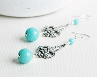 Turquoise Blue Stone Earrings with Silver Plated Floral Filigree Dangles
